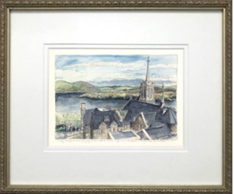 """Framed """"Above the Catholic Chapel, To The Hudson"""" (M. Mullin)"""