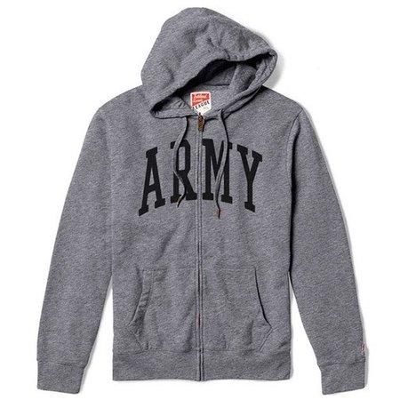 League Army Zip Up Hooded Sweatshirt