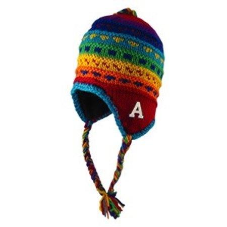 Logo Fit Yak Multi Colored Fleece Ear Flapped Hat, with Tassels