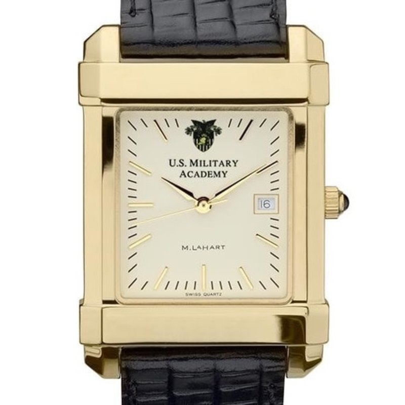 West Point Men's Gold Quad Watch with Leather Strap (Special Order)