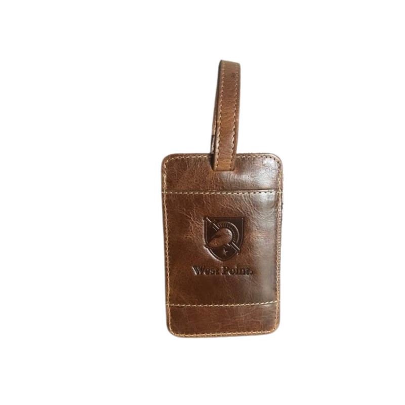 West Point Leather Luggage Tag-Brown