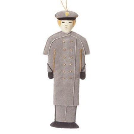 St. Nicholas Co. Female Cadet Ornament in Gray Overcoat, Caucasian