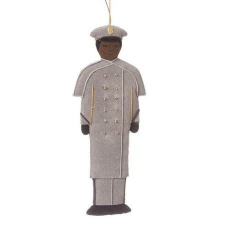 St. Nicholas Co. Female Cadet Ornament in Gray Overcoat, African American