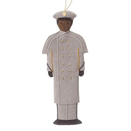 St. Nicholas Co. Male Cadet Ornament in Gray Overcoat, African American