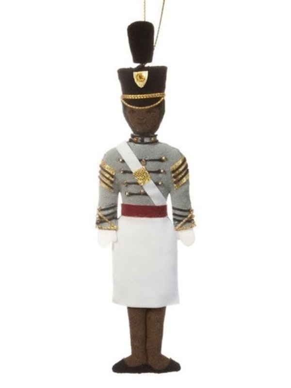 St. Nicholas Co. Female Cadet Ornament with Tarbucket, African American