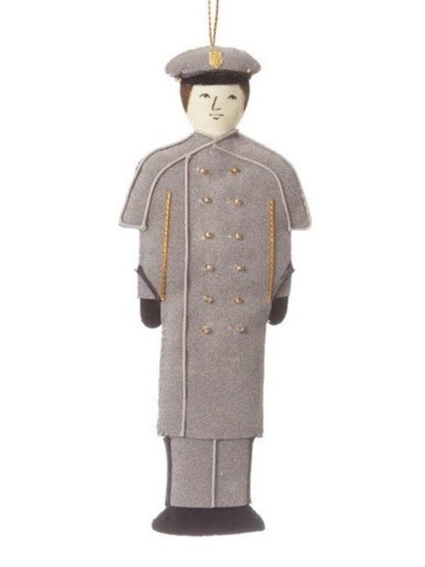 St. Nicholas Co. Male Cadet Ornament in Gray Overcoat , Caucasian