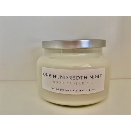 "Noor Candle Company ""One Hundredth Night"" Hand-Poured Soy Candle, 10 ounce (Frosted Juniper, Citrus, Pine)"