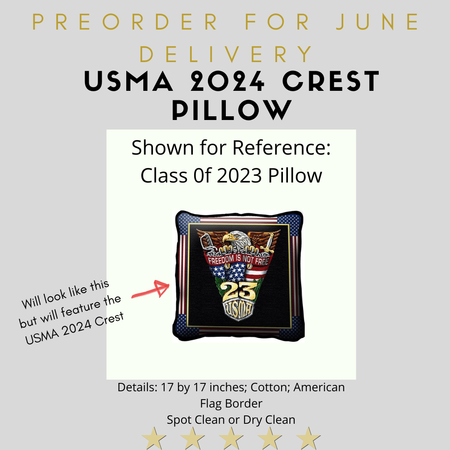 West Point Class of 2024 Crest Pillow (Preorder)