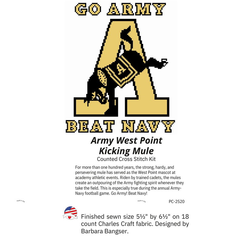 Kicking Mule Cross Stitch Kit (Go Army Beat Navy)