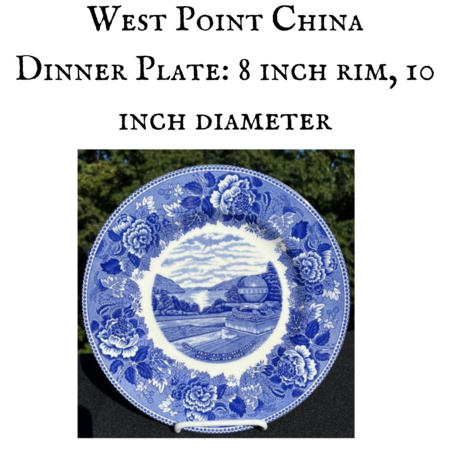 West Point China Dinner Plate, Trophy Point, Blue