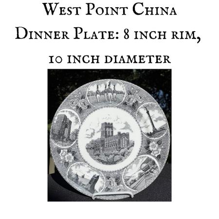 China Dinner Plate, Five Scene, Black, 10 inch