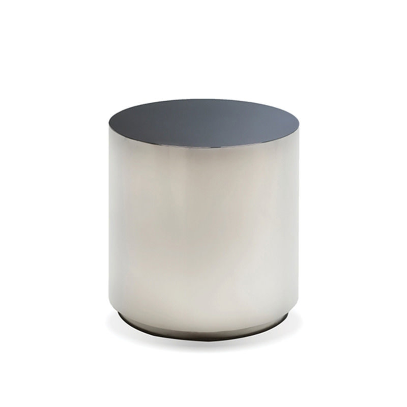 BO SIDE TABLE ROUND STAINLESS STEEL SMOKE