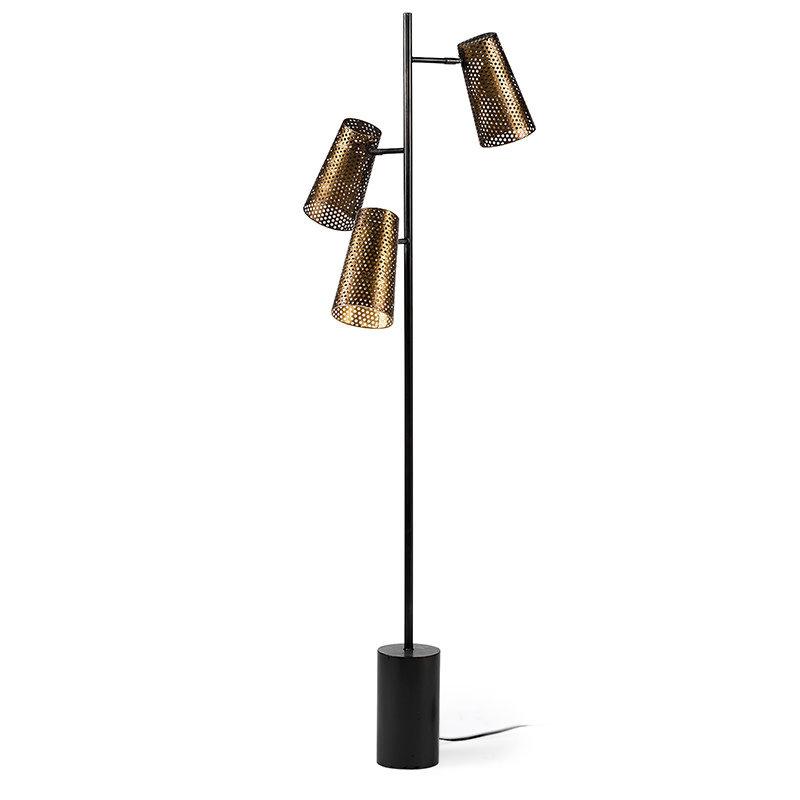 CARRAWAY 3 LIGHT FLOOR LAMP BURNISHED METAL