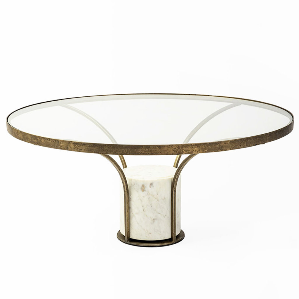 PHONOGRAPH COFFEE TABLE MARBLE AND GLASS