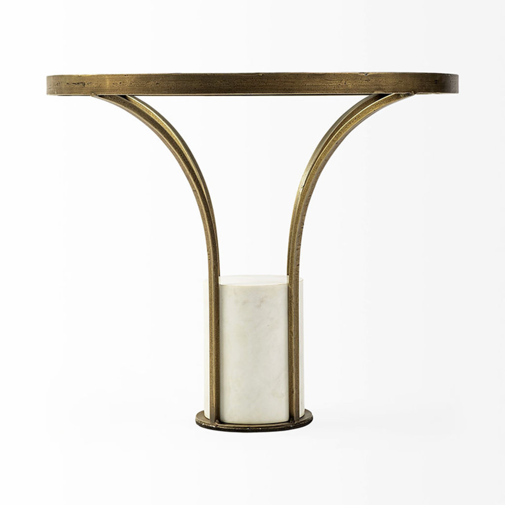 PHONOGRAPH SIDE TABLE MARBLE AND GLASS