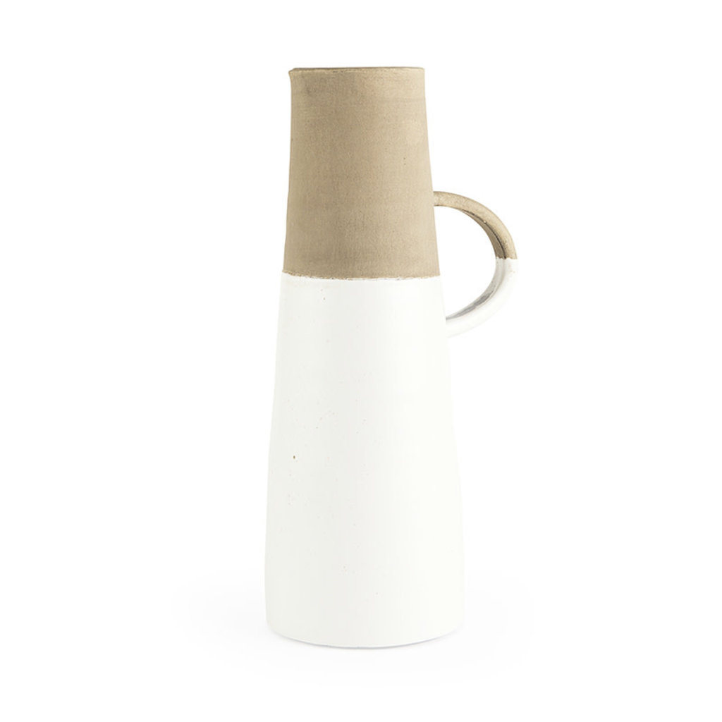 HINDLEY CERAMIC JUG WHITE AND SAND LARGE