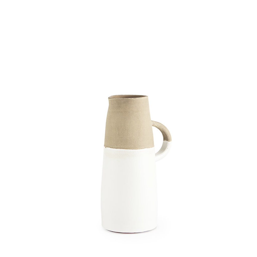 HINDLEY CERAMIC JUG WHITE AND SAND SMALL