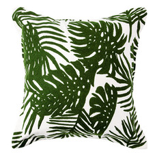 """TROPICAL PALM PILLOW DOWN FILLED 20"""" GREEN AND WHITE"""