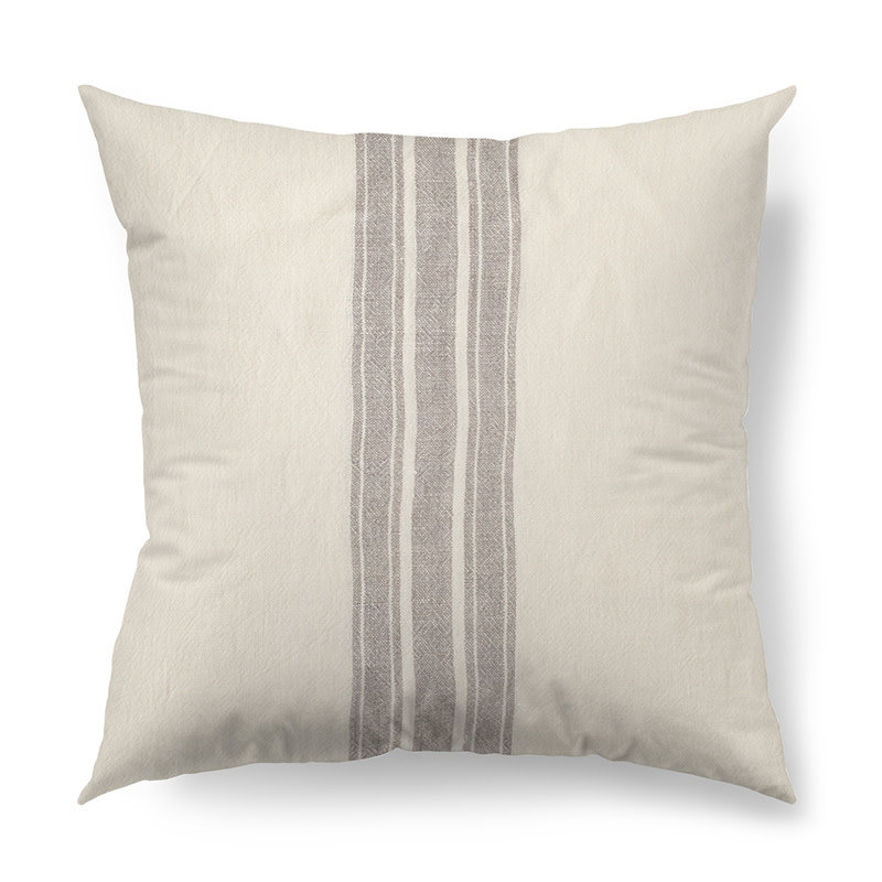 """PATRICE  3 STRIPE PILLOW DOWN FILLED 18"""" GREY AND BEIGE"""
