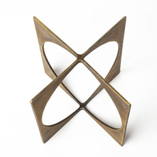 CIRCLE SQUARE SCULPTURE METAL GOLD SMALL