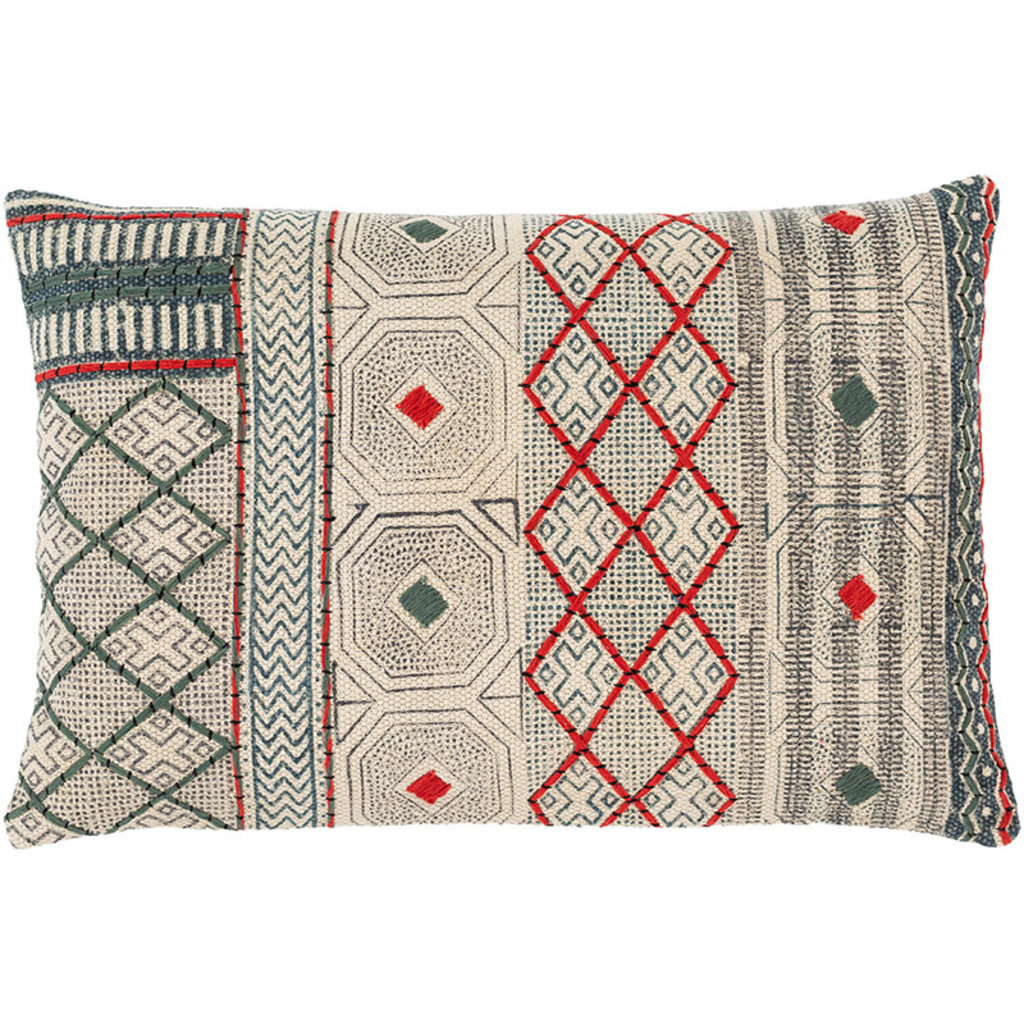 """ZOYA PILLOW DOWN FILLED  24""""X16"""" RED AND GREEN"""