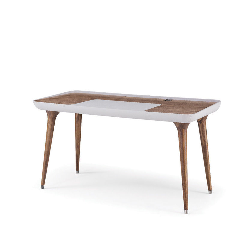 BRIAN DESK WALNUT AND LEATHER SMALL