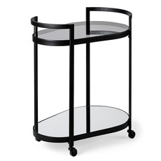PEAR BAR CART BLACK AND GLASS