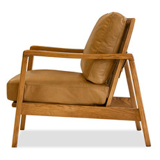 EDVIN CHAIR LEATHER CARAMEL AND ASHWOOD