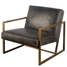 AGENT ARM CHAIR LEATHER BLACK
