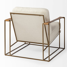 BRIXTON ARM CHAIR BOUCLE FABRIC AND LEATHER STRAP