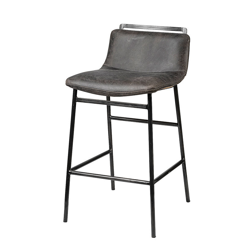 TROYE COUNTER STOOL LEATHER BLACK