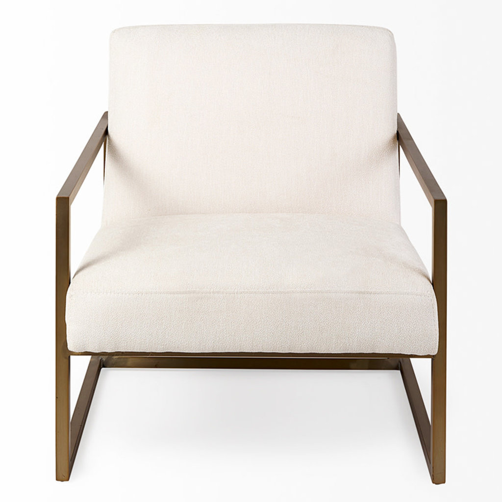 DIKEMBE ARM CHAIR OFF-WHITE AND GOLD