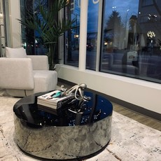 BO COFFEE TABLE  ROUND STAINLESS STEEL SMOKE
