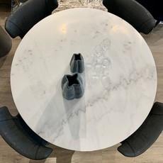 """AMADA MARBLE DINING TABLE ROUND 51"""" BLACK BASE"""