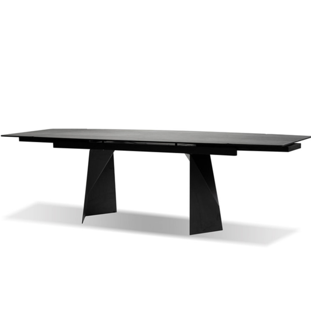 """BEOWULF CERAMIC EXTENSION DINING TABLE BLACK71 """" TO 102"""""""