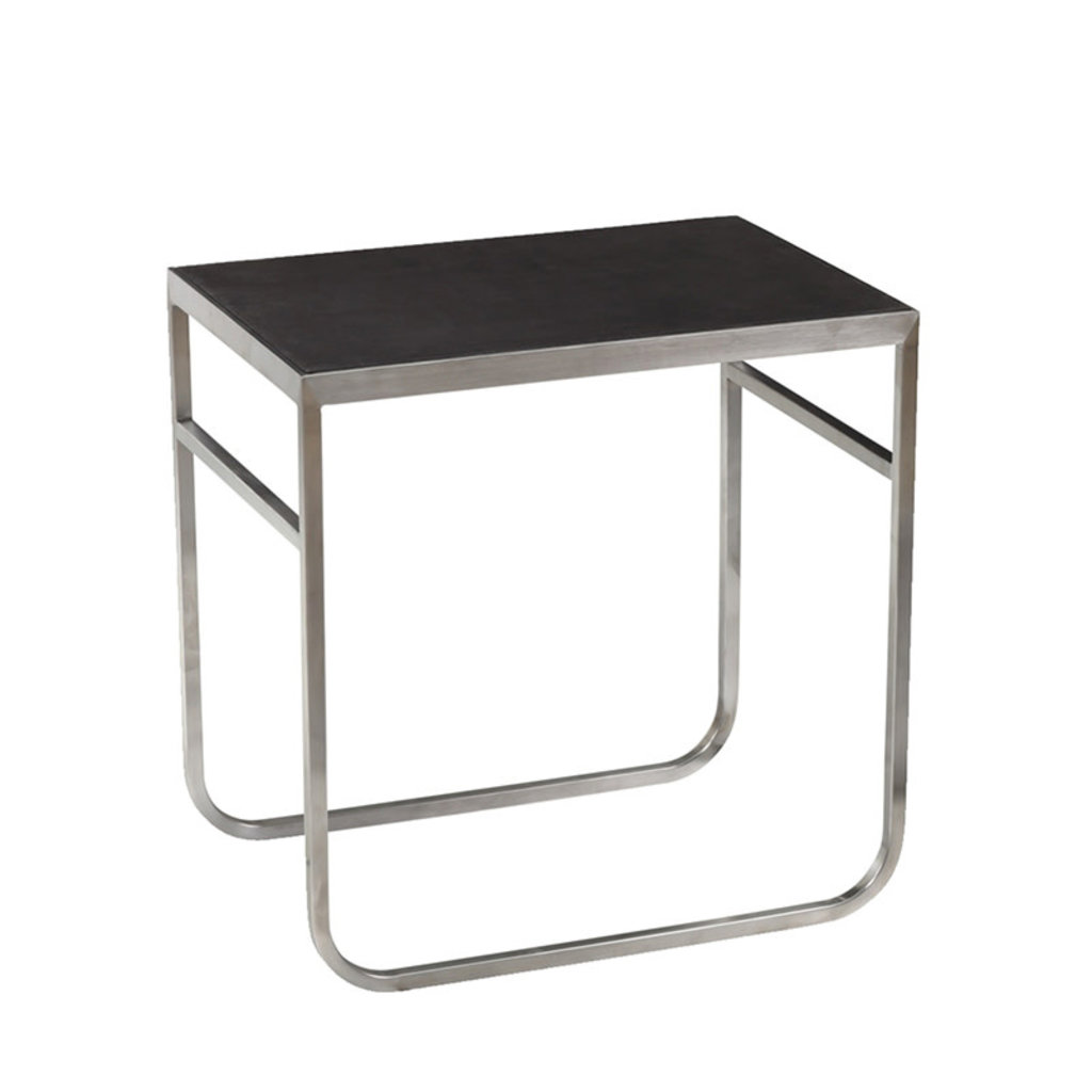 VIKANDER SIDE TABLE BLACK AND STAINLESS BRUSHED
