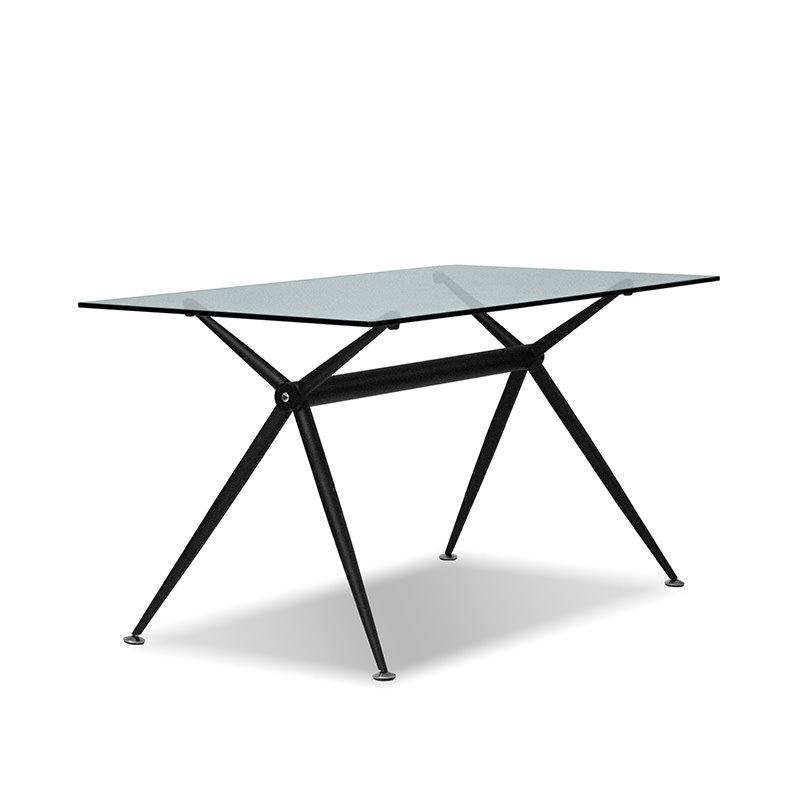 BERGMAN TABLE GLASS AND METAL BLACK