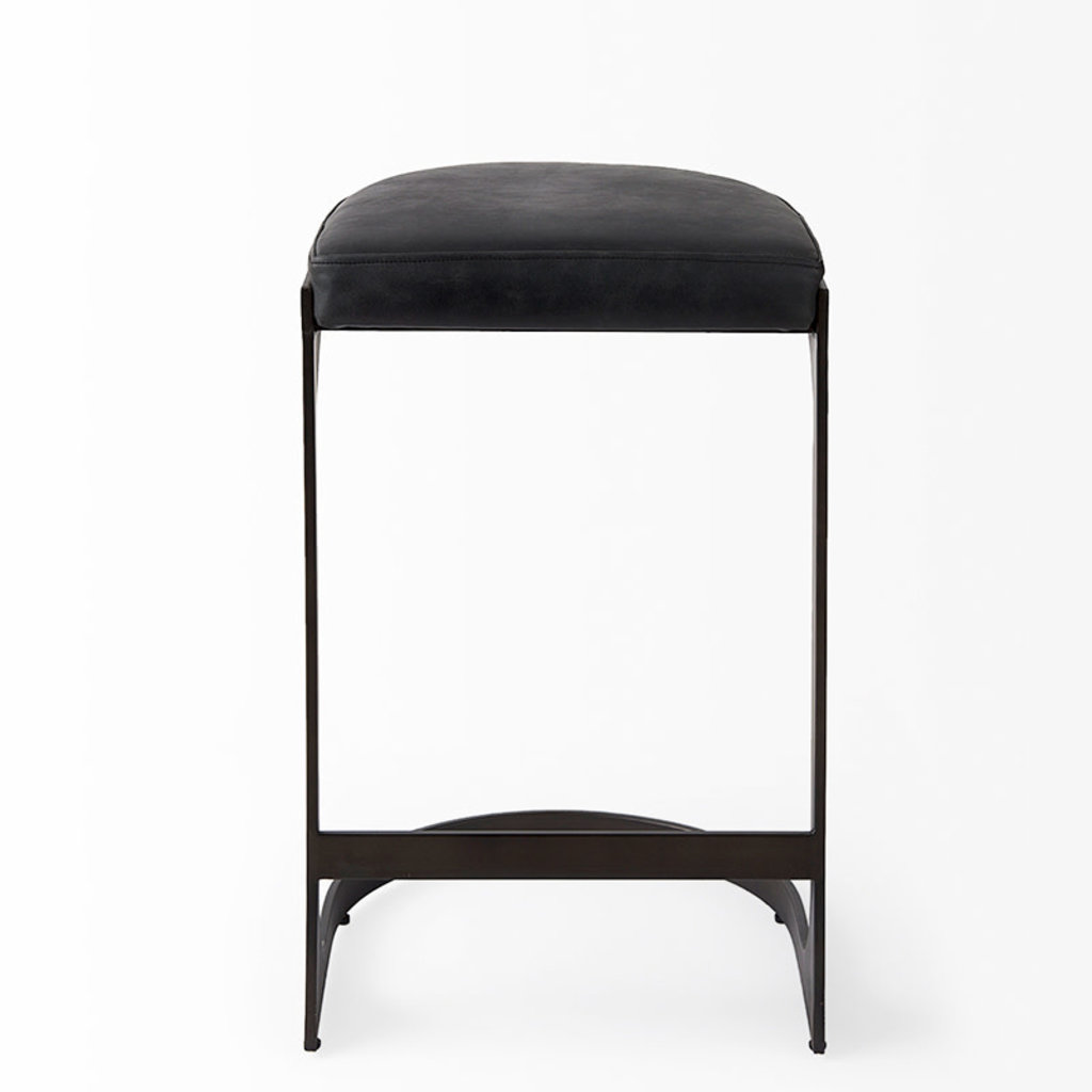 COLA COUNTERSTOOL LEATHER AND METAL BLACK