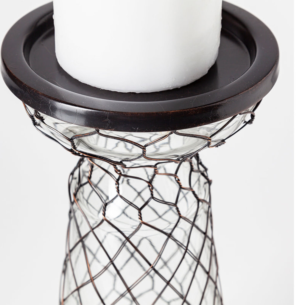 SEASIDE GLASS AND WIRE CANDLE HOLDER LARGE