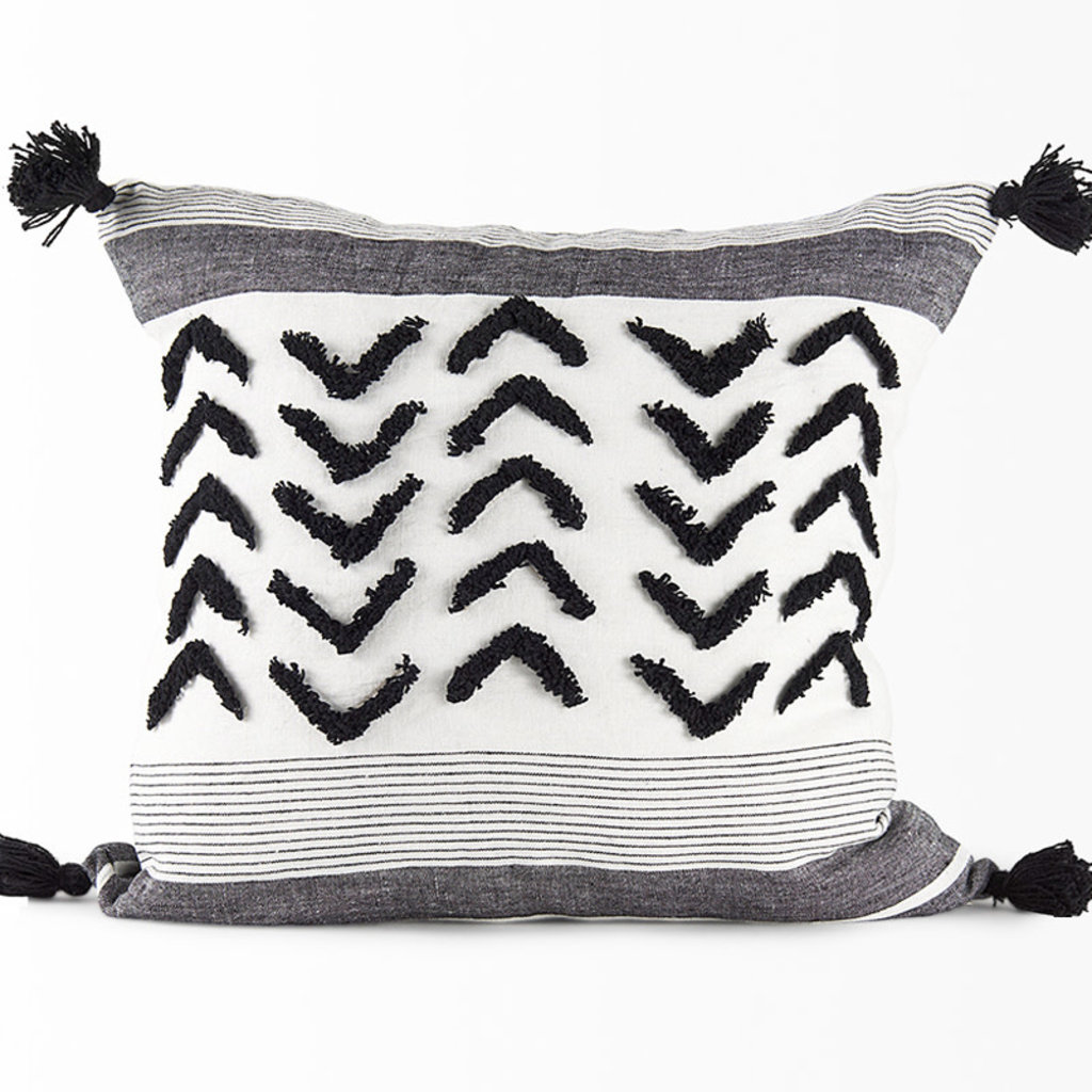 """OSLO FEATHER FILLED PILLOW BLACK AND WHITE 20""""X20"""""""