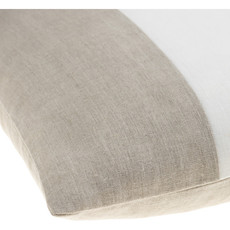 """ROX 3 BAND FEATHER FILLED PILLOW 20"""" BLACK TAN CREAM"""