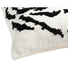 """EL TIGRE FEATHER FILLED PILLOW 18"""" BLACK AND WHITE"""