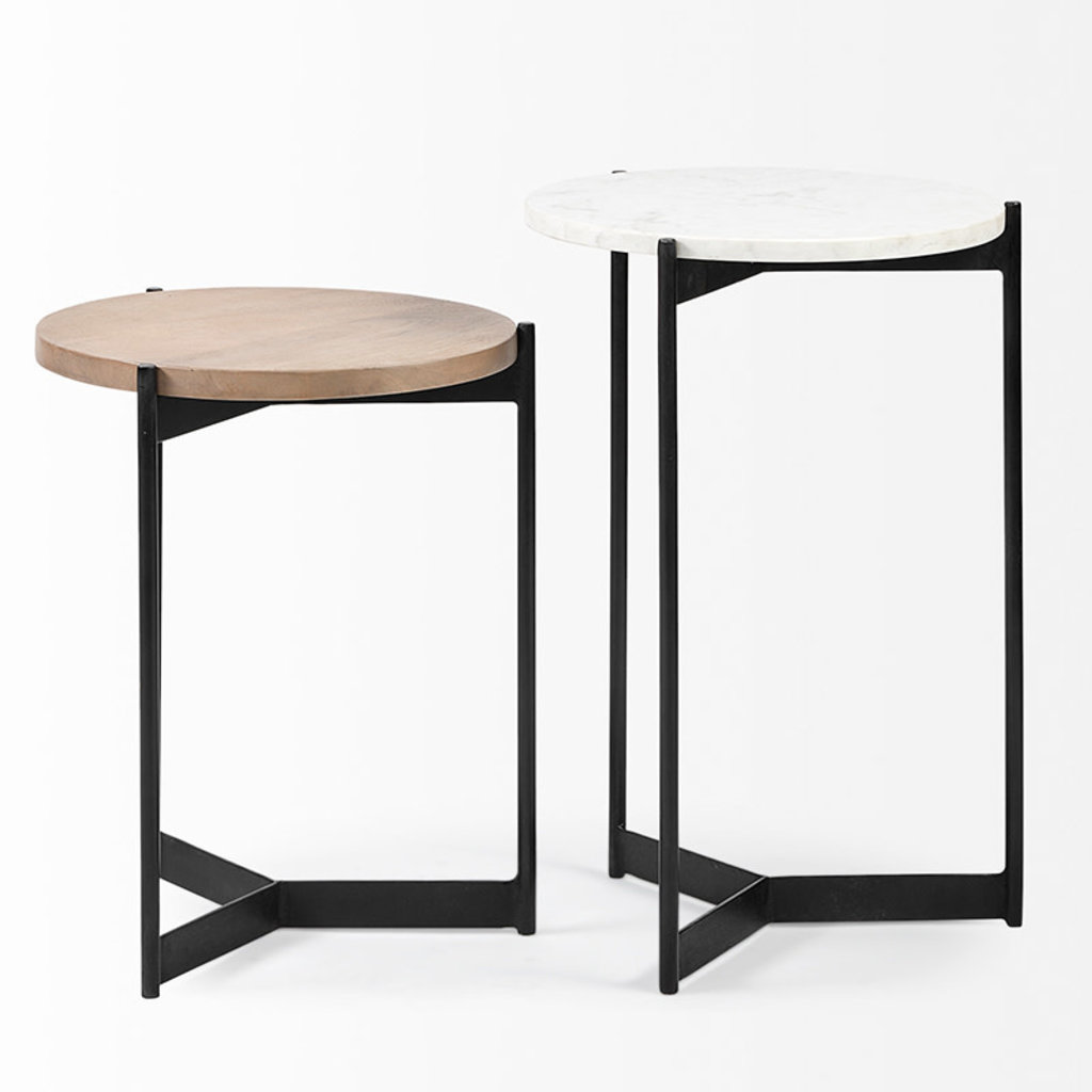 NEW WEST SIDE TABLES MARBLE + WOOD SET-2