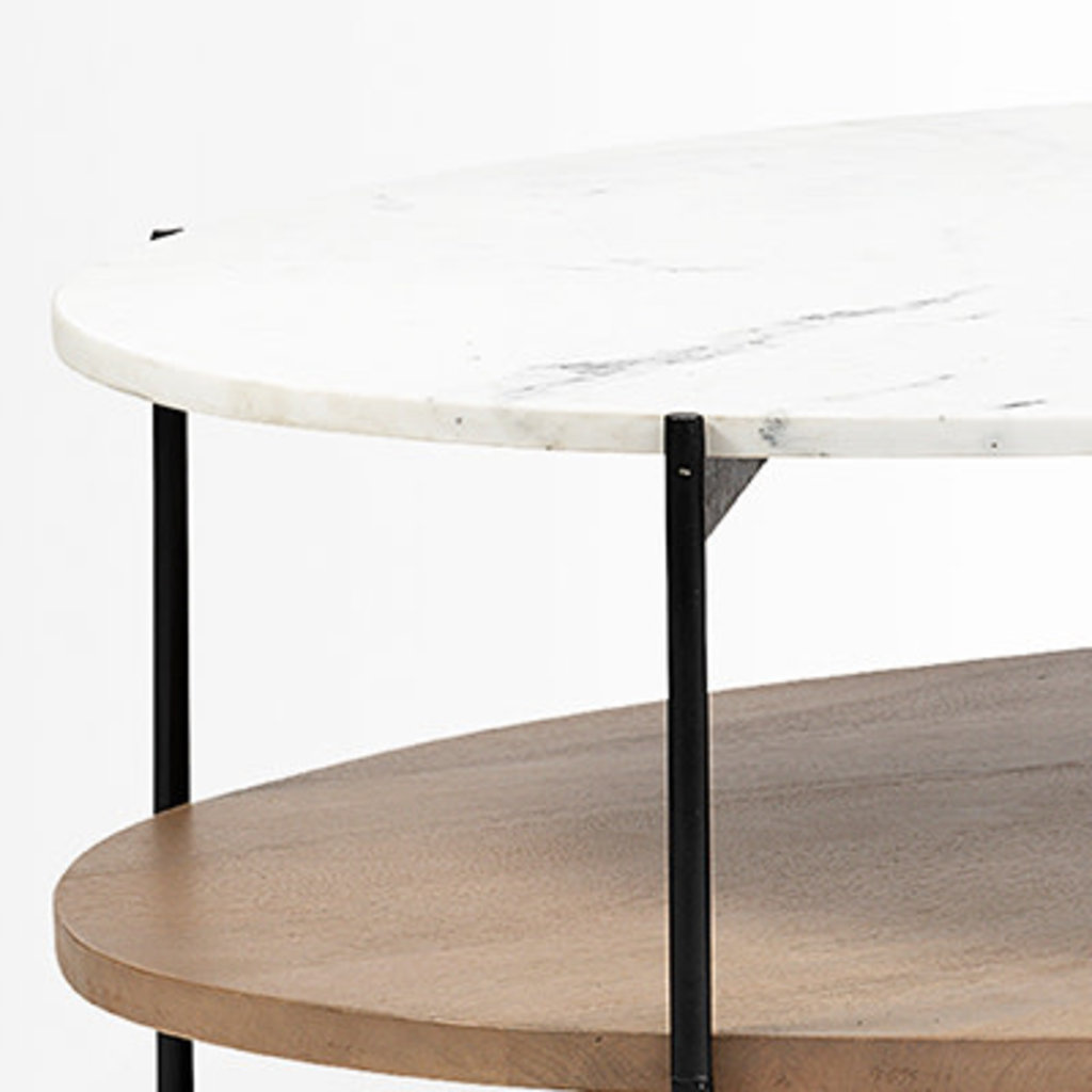 NEW WEST OVAL COFFEE TABLE MARBLE AND WOOD