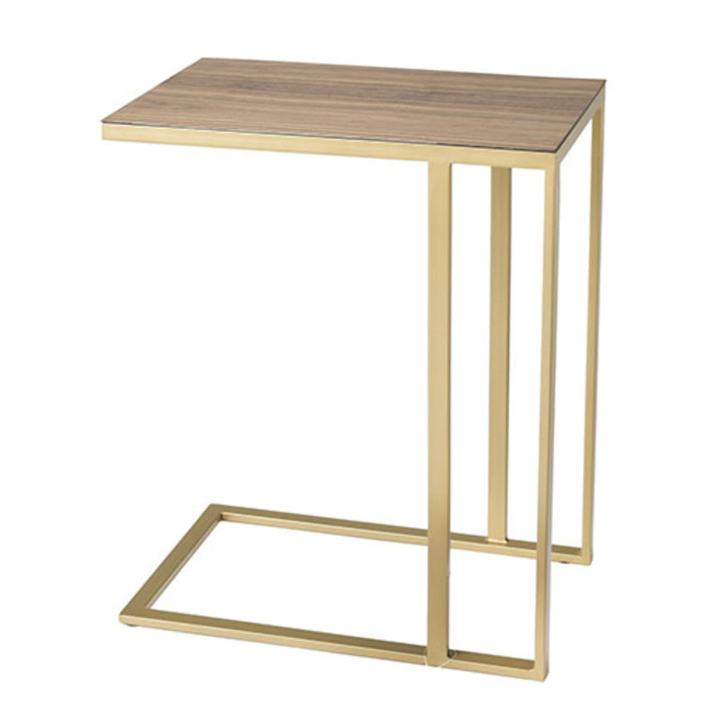 LE SERVICE SIDE TABLE WOOD AND METAL GOLD