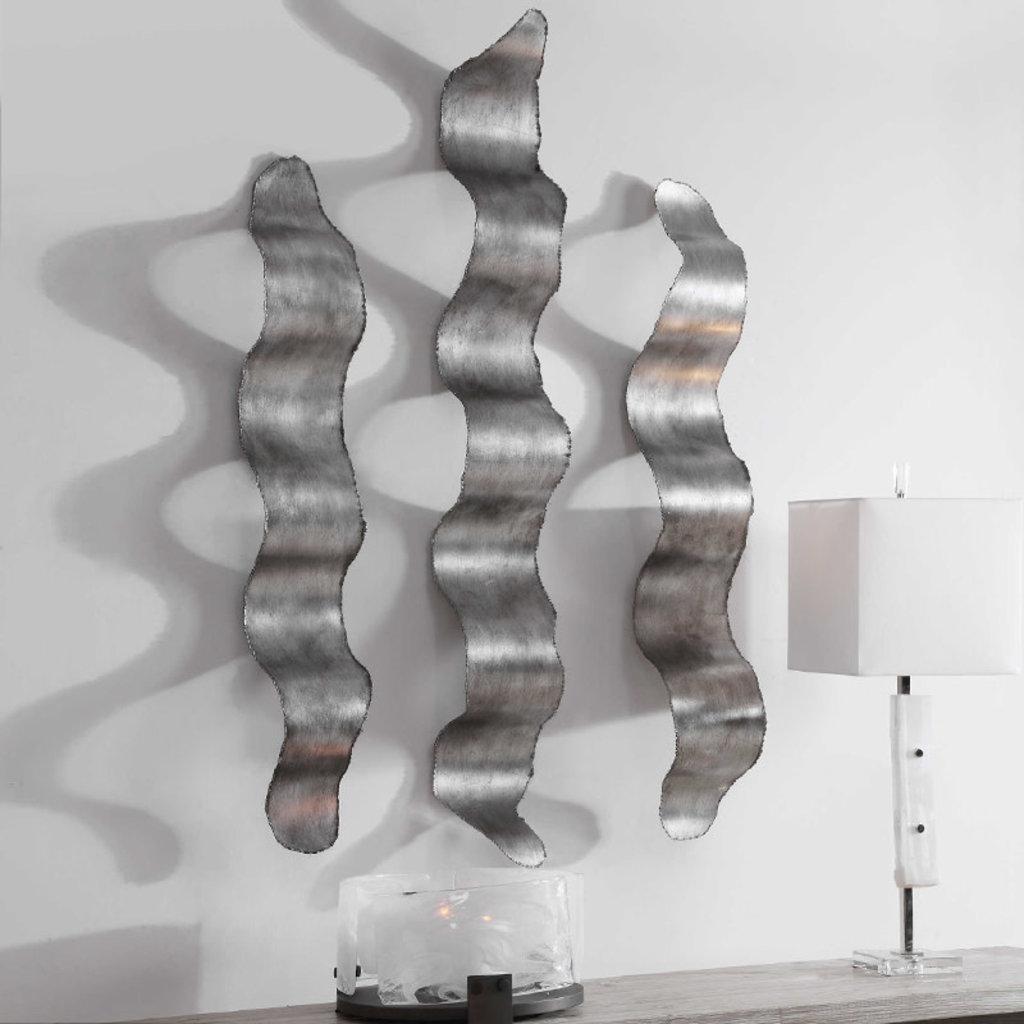 DESTON METAL WALL ART SET-3 SILVER