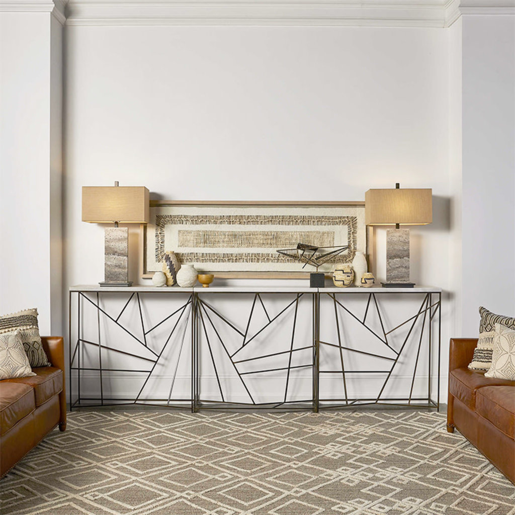 PICK UP STICKS CONSOLE MARBLE AND STEEL