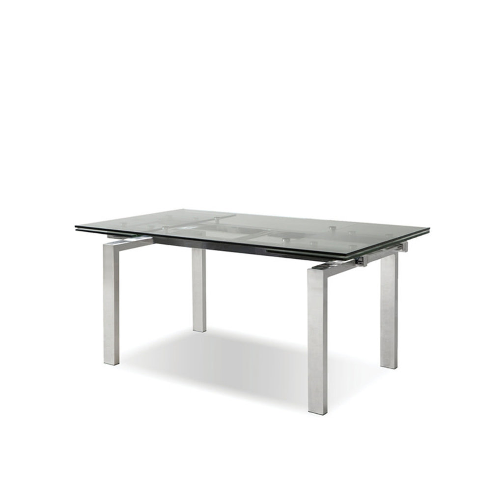 """KARLSTAD EXTENSION TABLE POLISHED STEEL 63"""" TO 93"""""""