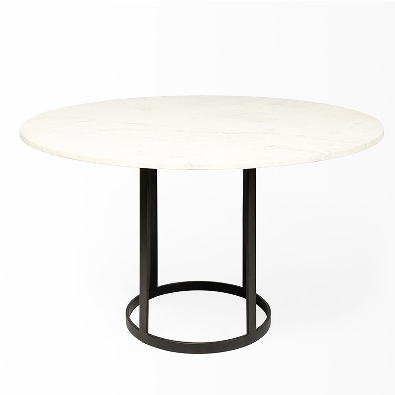 CIRCOLO DINING TABLE ROUND MABRLE WHITE