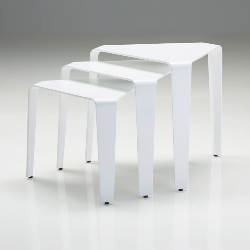 BERMUDA TRIANGLE SIDE TABLES WHITE SET-3 [OUTDOOR SAFE]